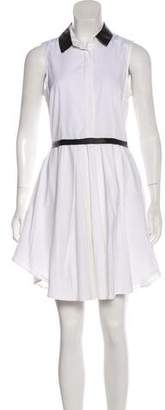 Band Of Outsiders Leather-Trimmed Mini Dress