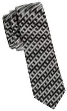Valentino Herringbone Silk Slim Tie