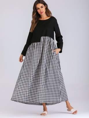 Shein Spliced Gingham Side Pocket Maxi Smock Dress