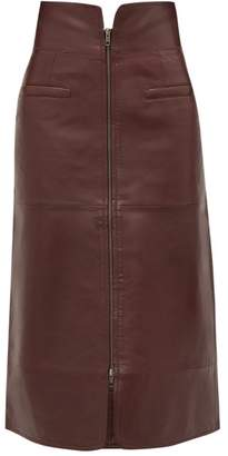 Sea Lidia Zipped Leather Midi Skirt - Womens - Burgundy