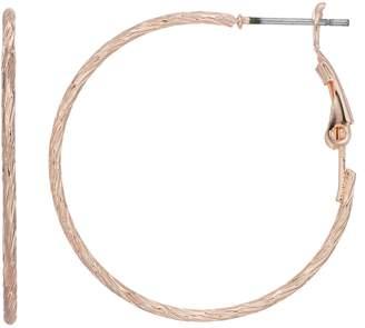 Lauren Conrad Nickel Free Textured Rose Gold Tone Hoop Earrings