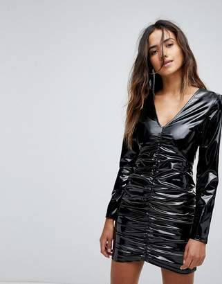 Miss Selfridge Ruched Vinyl Mini Dress