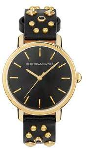 Rebecca Minkoff BFFL Gold Tone Multi Studded Leather Watch, 36MM