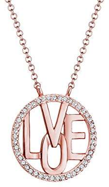 Swarovski Elli PREMIUM Elli Women's 925 Silver, Rose Gold Plated Wording Lettering Love 0.001 ct Crystals Pendant Necklace