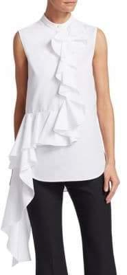 Alexander McQueen Sleeveless Ruffle Drape Shirt