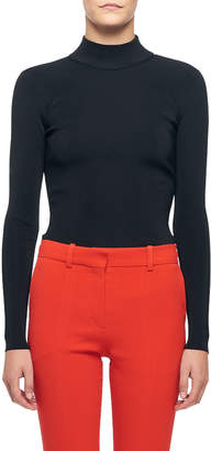 Victoria Beckham Long-Sleeve High-Neck Open-Back Blouse