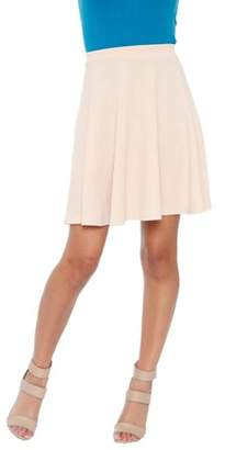 White Mark Women's Solid Color Fit and Flare Skirt