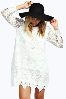 boohoo Flower Lace Long Sleeve Smock Dress