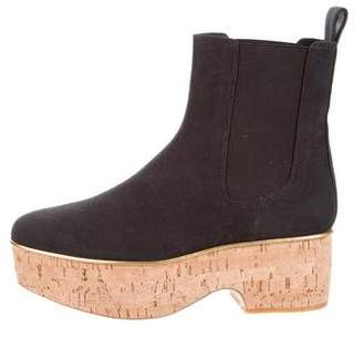 Dries Van Noten Canvas Flatform Ankle Boots