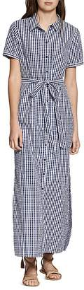 Sanctuary Blue Dawn Gingham Maxi Shirt Dress