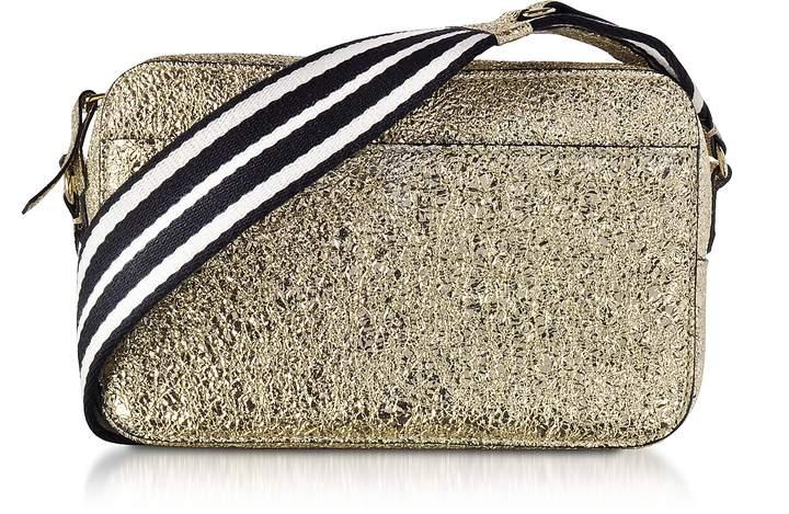 RED Valentino Platinum Crackled Metallic Leather Crossbody Bag w Striped  Canvas Strap - ShopStyle Shoulder 9542e07b9c7b0