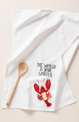 Anthropologie Kate Jenkins The World Is Your Lobster Dishtowel