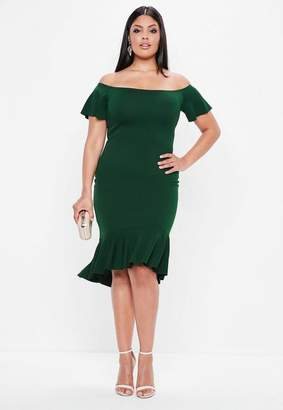 Missguided Curve Green Bardot Dip Kick Hem Bodycon Dress, Green