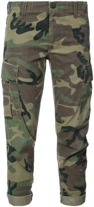 camouflage print cropped trousers