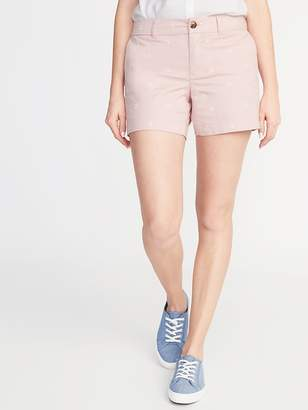 Old Navy Mid-Rise Embroidered-Daisy Everyday Shorts for Women - 5-inch inseam