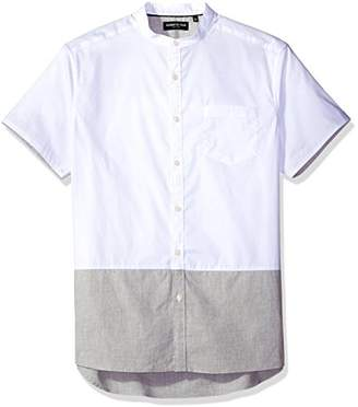 Kenneth Cole New York Men's Short Sleeve Banded Collar Color Block Shirt