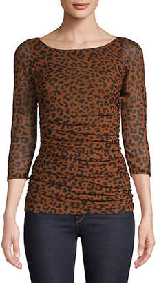 Diane von Furstenberg Animal-Print Ruched Top