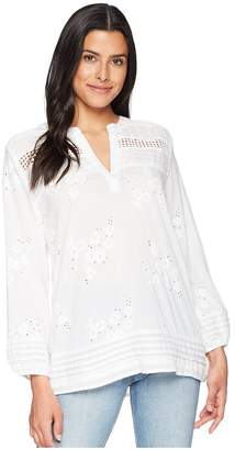 True Grit Dylan by Rosalie Pintuck Cotton Voile Embroidery Blouse Women's Blouse