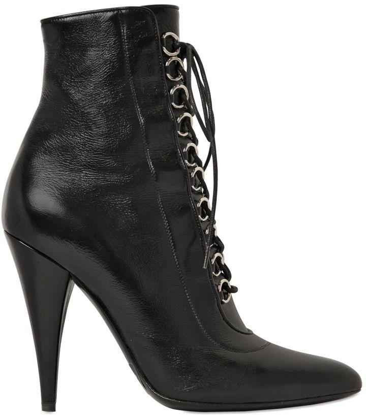 Saint Laurent105mm Fetish Lace-Up Leather Ankle Boots