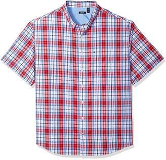 Izod Men's Big and Tall Short Sleeve Plaid Seersucker Shirt