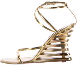 Louis Vuitton Louis Vuitton Metallic Multistrap Wedges