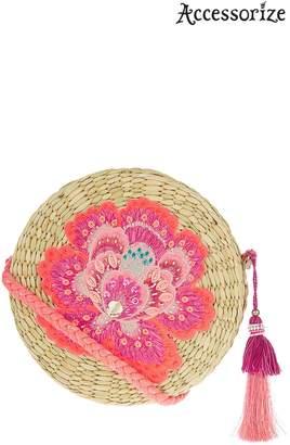 Next Womens Accessorize Nude Raffia Floral Circle Bag