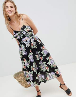 Asos Design DESIGN Cut Out Midi Sundress In Dark Floral Print With Bow