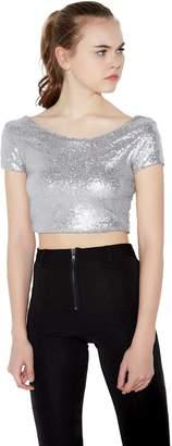 44dc746b49c2c1 Vero Viva Womens Sparkly Sequin Crop Top T-Shirt Short Sleeve Backless Club  Tank(