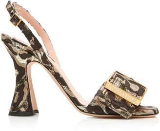 18ca54ab94a Rochas Buckled Leopard-Print Broade Slingback Sandals