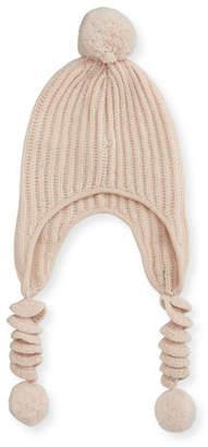 Sofia Cashmere Knit Corckscrew Trapper Hat w/ Pompoms