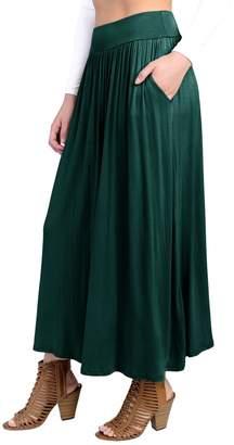 Hunter Fashion California FACA Womens High Waist Shirring Maxi Skirt Ankle Length with Pockets (XXX-Large, Purple)