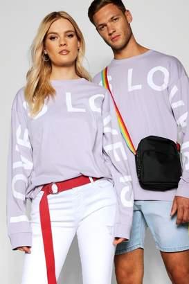 boohoo Pride Love is Long Sleeve T Shirt in Loose Fit