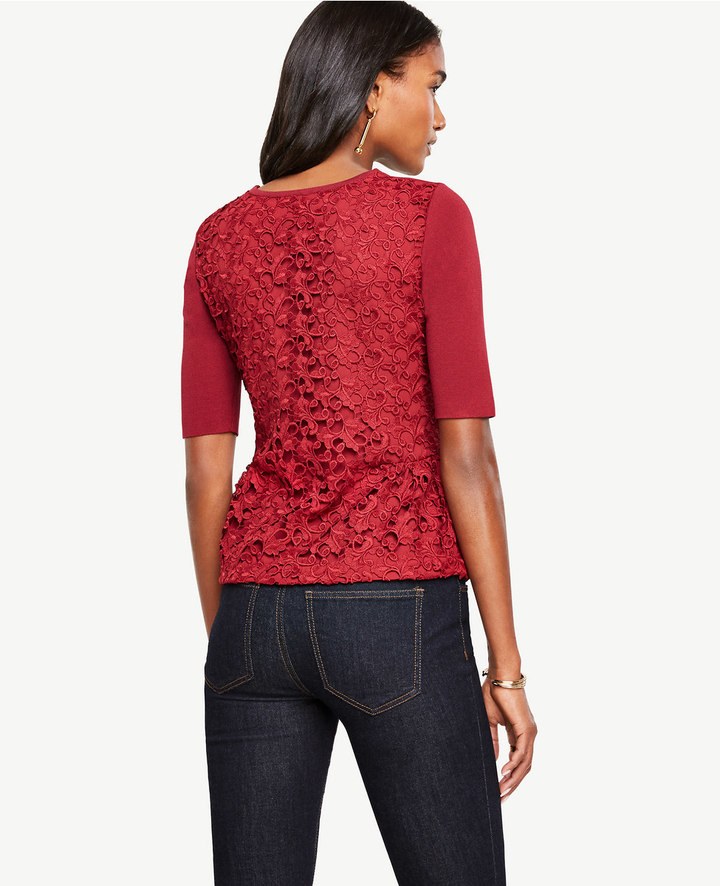 Ann Taylor Lace Back Shirred Peplum Sweater
