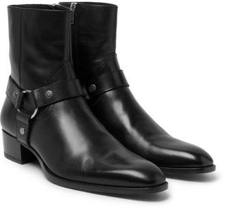 Saint Laurent Leather Harness Boots - Black