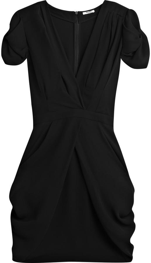 Miu Miu Puff-sleeve crepe mini dress