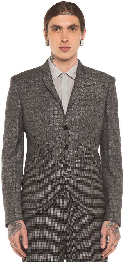 Neil Barrett Super Skinny Jacket Engineered Suiting in Charcoal Melange