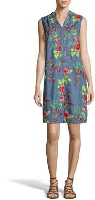 ECI Embroidered Denim Shift Dress