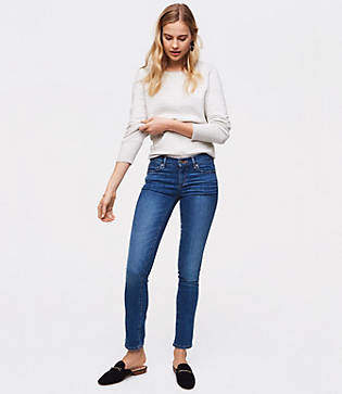 LOFT Modern Straight Leg Jeans in Classic Mid Indigo Wash