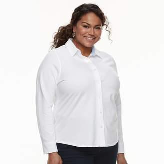 Croft & Barrow Plus Size Solid Button-Down Shirt