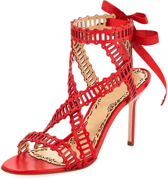 Marchesa Sarah Strappy Evening Sandals, Coral