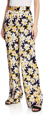 Cinq à Sept Margot Floral Silk Wide-Leg Cuffed Pants