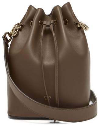 Fendi Mon Tresor Leather Cross Body Bucket Bag - Womens - Dark Brown