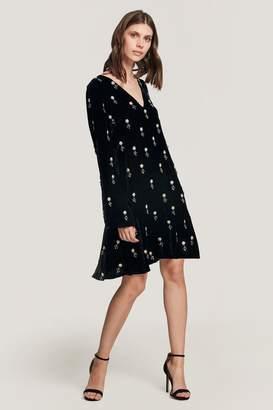 Beulah London Tejal Embellished Velvet Shift Dress