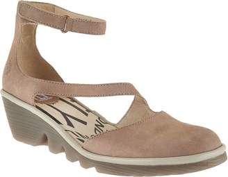 Fly London Leather Closed Toe Wedges - Plan