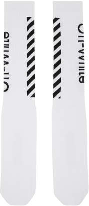 Off-White White and Black Diagonal Socks