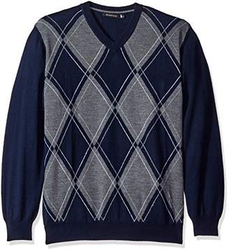 Bugatchi Men's Argyle Long Sleeve Vneck Sweater