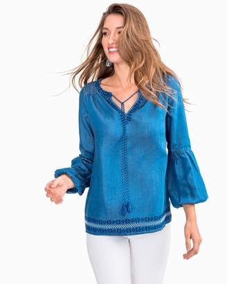 Southern Tide Brinley Tencel Denim Embroidered Peasant Top