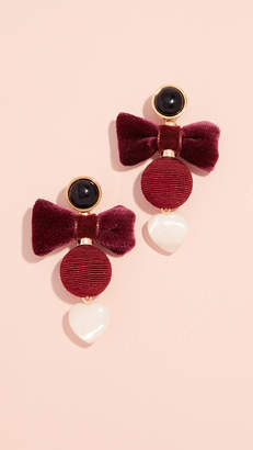 Lizzie Fortunato Burgundy Bow Earrings