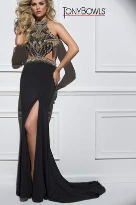 Tony Bowls Black Gold Gown