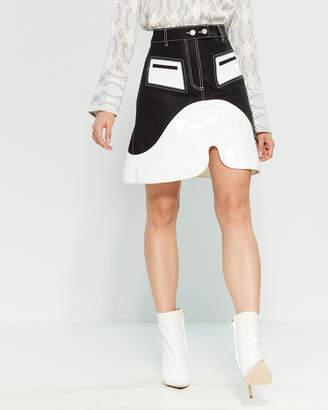 f301f40a51 Ellery Black Vontz Patent Trim Denim A-Line Mini Skirt